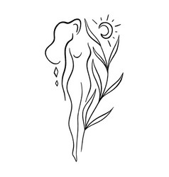 Line art woman self love and care concept vector