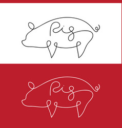Line design silhouette of pig on white background vector