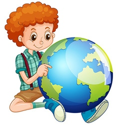 Little boy and the world vector image
