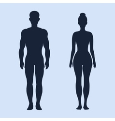 Man and woman standing silhouettes vector