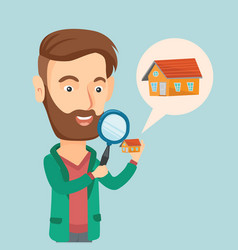 Man looking for a house vector