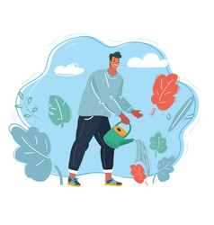 man watering flowers vector image