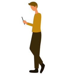 man with smartphone side view guy chatting vector image