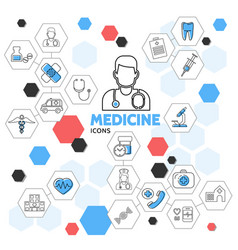 Medicine line icons in hexagons collection vector