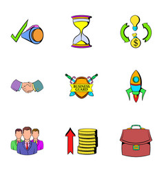 Money icons set cartoon style vector