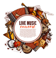 Music festival poster of musical instruments vector