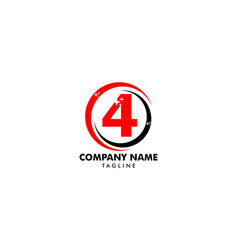 number four logo logo 4 template vector image
