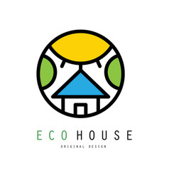 Original emblem with eco house sun and vector