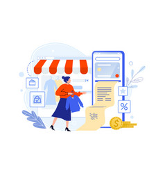 pay in online shop using smartphone woman buyer vector image