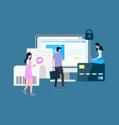 people shopping online man and woman users shop vector image