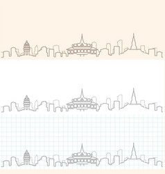 phnom penh hand drawn skyline vector image