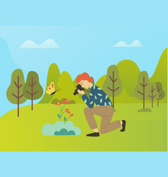 Photography hobperson nature photo taking vector