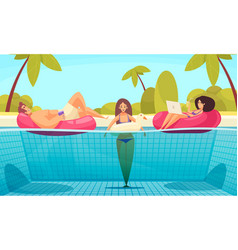 pool beach relaxing composition vector image