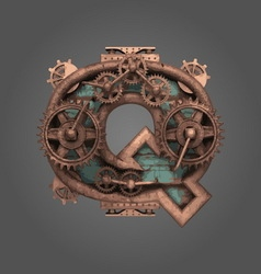 Q rusted letter with gears vector
