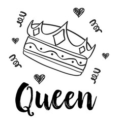 queen crown doodle style collection vector image