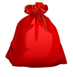 Red tied closed full santa bag with gifts vector