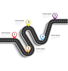Road way location infographic template with pin vector