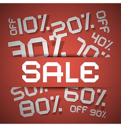 Sale Paper Title - Discount on Red Backgroun vector