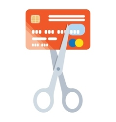 Scissors cut credit card icon vector