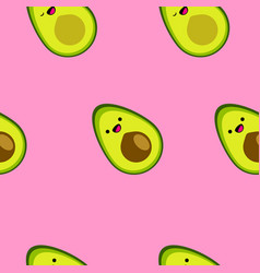 seamless pattern with cute cartoon smiling avocado vector image