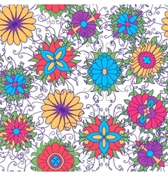 Seamless pattern with flower icons on white vector