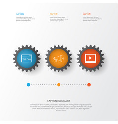 Seo icons set collection of video player media vector