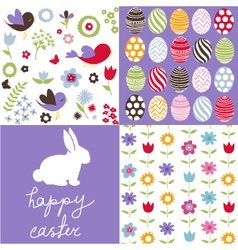 set cute seamless easter background patterns vector image