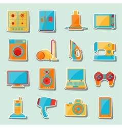 set home appliances and electronics icons vector image