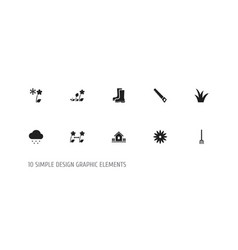 Set of 10 editable planting icons includes vector