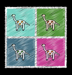 Set of flat shading style icons giraffe toy vector