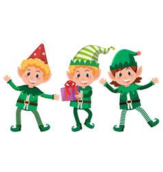 set of happy elfs vector image