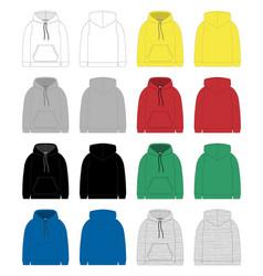 Set technical sketch for men hoodie template vector