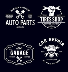 Set vintage monochrome car repair service vector