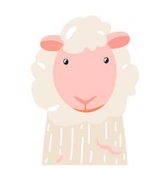 Sheep cute animal baby face vector