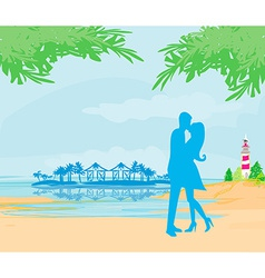 silhouette couple kissing on tropical beach vector image