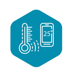 Smart temperature control icon outline style vector
