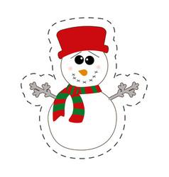 Snowman winter decorative cut line vector