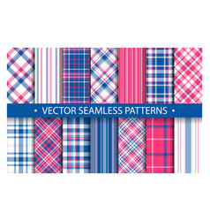 Tartan set pattern seamless plaid geometric vector