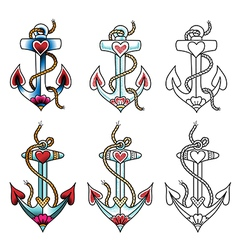 Tattoo anchor dot vector