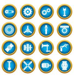 Techno mechanisms kit icons blue circle set vector
