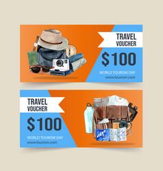 Tourism voucher design with camera hat bag vector