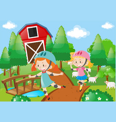 Two girl rollerskate in the farmyard vector