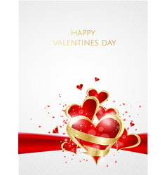valentines day abstract background with red paper vector image