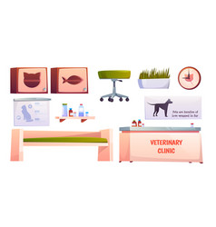 Veterinary vet clinic furniture and stuff isolated vector