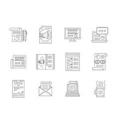 Web publications line icons collection vector image