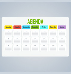 Weekly plan notes vector
