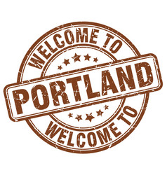 welcome to portland brown round vintage stamp vector image