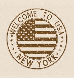 welcome to usa postmark new york brown stamp on vector image