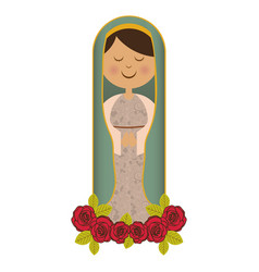 White background of virgin with ornament of roses vector