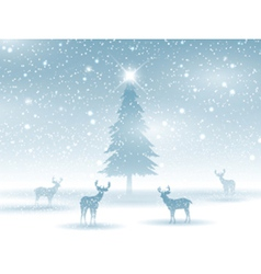 Winter landscape with deer 2211 vector